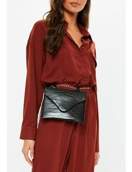 Black Croc Detail Belt Bag by Missguided