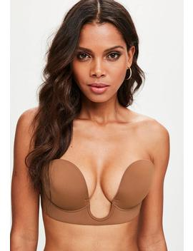 Tan Secret U Plunge Stick On Strapless Bra by Missguided