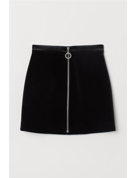 Velvet Skirt With A Zip by H&M