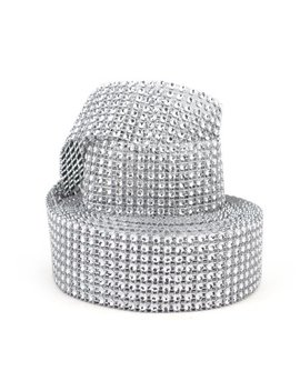 "Aspire Silver Rhinestone Ribbon, Diamond Rhinestone Mesh Ribbon, 1.5"" X 10 Yards, 8 Rows, 1 Roll Silver by Aspire Home Accents"