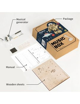 Robotime Creative Diy 3 D Steampunk Robot Wooden Puzzle Game Assembly Music Box Toy Gift For Children Teens Adult Am601 by Robotime