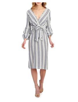 Striped Balloon Sleeve Wrap Dress 						Striped Balloon Sleeve Wrap Dress by Max Studio 						Max Studio