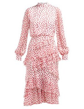 Isa Polka Dot Fil Coupé Silk Blend Dress by Saloni