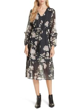 Ruffled Floral Midi Dress by Dolan