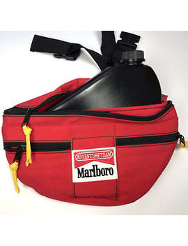 Vtg Marlboro Adventure Team Red Fanny Pack Bage Belt W/ Black Water Caintainer by Marlboro