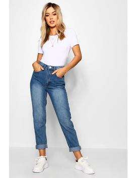 Petite Mid Wash Classic Mom Jean by Boohoo