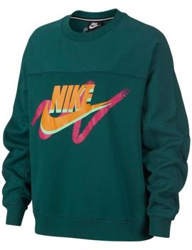 Nike Women's Sportswear Archive Long Sleeve Crew Sweatshirt Green 932126 335 C by Nike