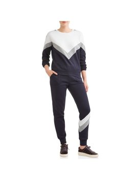 Juniors' Chevron Colorblock Pullover Sweatshirt & Jogger Bundle by Eye Candy