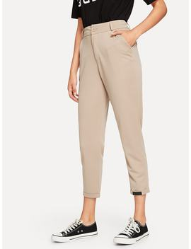 Rolled Hem Solid Pants by Sheinside