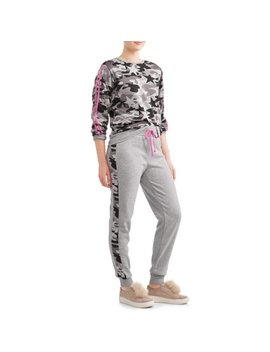 Juniors' Camo Printed Pullover Sweatshirt And Jogger Bundle by Eye Candy
