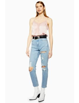 Bleach Destroy Rip Straight Jeans by Topshop