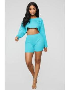 Well Rounded Short Set   Turquoise by Fashion Nova