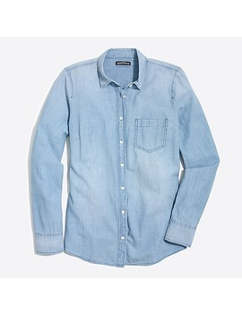 Petite J.Crew Mercantile Chambray Shirt In Perfect Fit by J.Crew