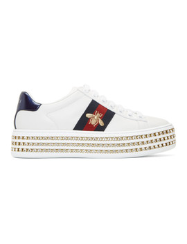 White Crystal New Ace Sneakers by Gucci