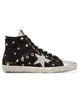 Black Francy Star Print Leather High Top Sneakers by Golden Goose Deluxe Brand