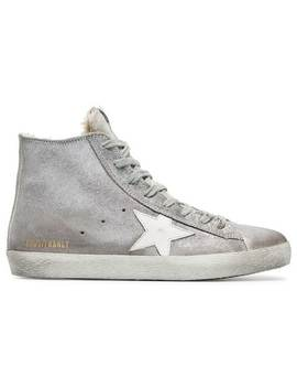 Silver Sheepskin Lined Suede High Top Sneakers by Golden Goose Deluxe Brand