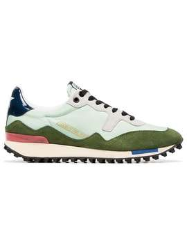 Green Low Top Lace Up Leather Sneakers by Golden Goose Deluxe Brand