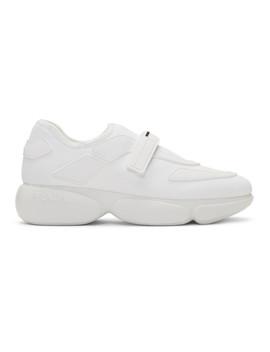 White Tonal Sock Cloudbust Sneakers by Prada
