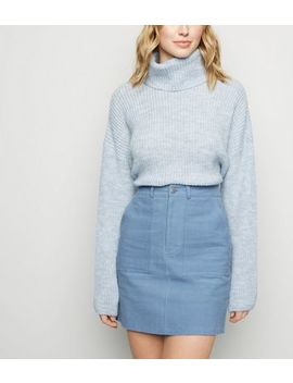 Pale Blue Utility Pocket Corduroy Mini Skirt by New Look