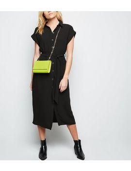 Black Short Sleeve Midi Shirt Dress by New Look