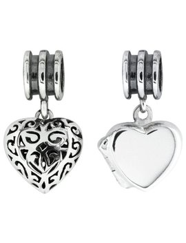 Link Up Sterling Silver Heart Drop Charms   Set Of 2 by Argos
