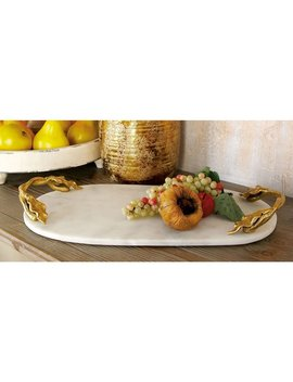 Dec Mode Oval Marble Tray With Aluminum Ivy Leaf Handles by Hayneedle