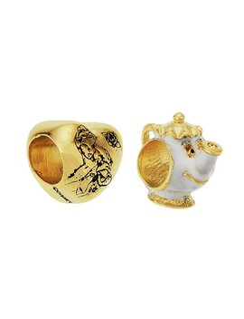 Disney Belle And Mrs Potts Gold Colour Charms   Set Of 2 by Argos