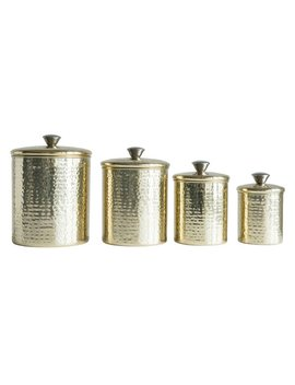 Bungalow Rose Hammered Stainless Steel 4 Piece Kitchen Canister Set by Bungalow Rose