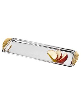 Badash Feathers Stainless Steel And Brass Rectangular Serving Tray by Hayneedle