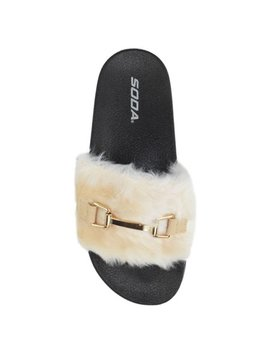 Metal Beige Soda Fuzzy Soft Fur Flip Flops Women Slip On Sandals Slides Slippers by Soda