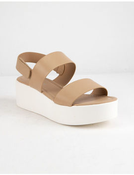 City Classified Two Strap Nude Womens Flatform Sandals by City Classified