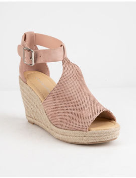 City Classified Perforated Mauve Womens Espadrille Wedges by City Classified
