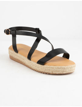 Bamboo Strap Flatform Black Womens Espadrille Sandals by Bamboo