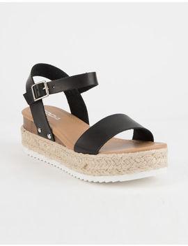 Soda Clip Espadrille Black Womens Platform Sandals by Soda