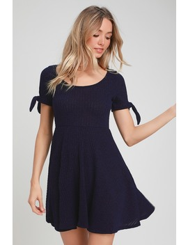 Too Cute Navy Blue Knit Tie Sleeve Skater Dress by Lulus