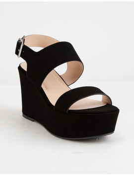 Soda Double Strap Black Womens Wedges by Soda