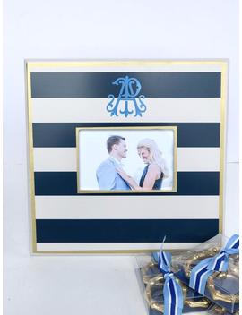 "Navy Striped Picture Frame 4x6 Opening, 12"" X 12"" Frame Monogrammed by Etsy"