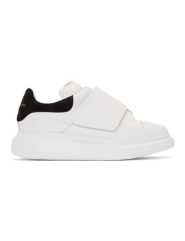 White & Black Flap Tab Oversized Sneakers by Alexander Mcqueen