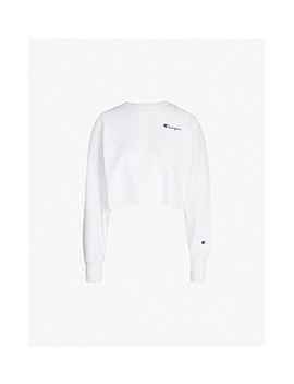Cropped Logo Embroidered Cotton Jersey Sweatshirt by Champion