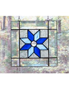 "Stained Glass Square Panel   8 Point Star In Blues With Frosted Clear Border, Clear Center Jewel, And Faceted Clear Bevel Border   8""X 8"" by Etsy"