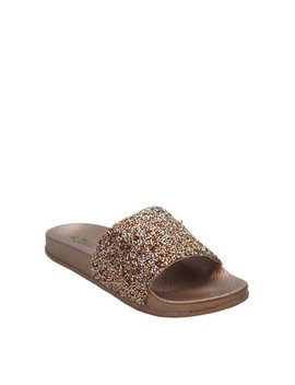Women Molded Footbed Slide Sandal   Open Toe Slip On Slipper   Trendy Fashion Casual Everyday Lounging Slide   Didi Sequin   Rose Gold 8 by Blue Suede Shoes
