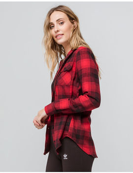 Destined Hooded Red & Black Womens Flannel Shirt by Destined