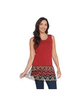 Logo By Lori Goldstein Knit Tank With Two Toned Lace Trim by Qvc