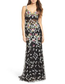 Embroidered Mesh Gown by Mac Duggal