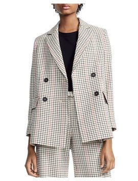Voldi Checked Double Breasted Blazer by Maje