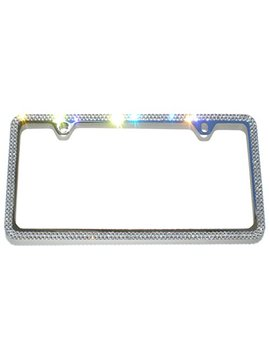 Cool Blingz 2 Row Crystal License Plate Frame 2 Holes Rhinestone Bling Made With Swarovski Crystals by Cool Blingz