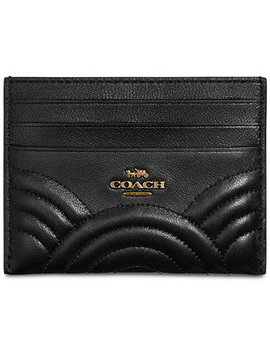 Deco Flat Card Case In Quilted Leather by Coach