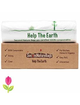 Second Nature Bags, Premium Certified 100 Percents Compostable Biodegradeable, Extra Thick, Small Kitchen Food Scraps & Home Trash Bags (3 G 100 Count) by Second Nature Bags