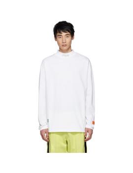White 'style' Mock Neck Long Sleeve T Shirt by Heron Preston