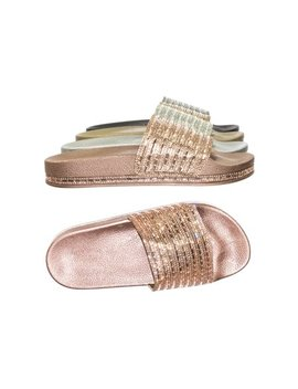 Dazzling02 By Bamboo, Shiny Rhinestone Crystal Molded Footbed Slip On Slipper Flat Sandals by Bamboo